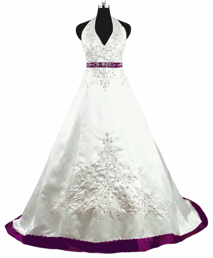 White and purple satin bridal gowns embroidery beaded for Wedding dress with purple embroidery