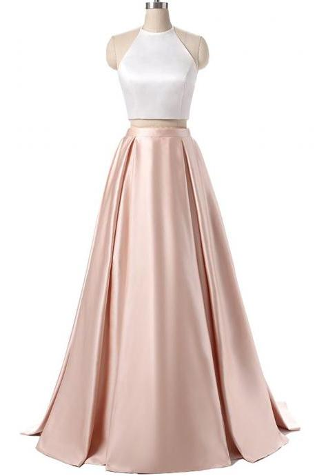 2 Pieces Long Satin Prom Dress Halter Neck women Dress