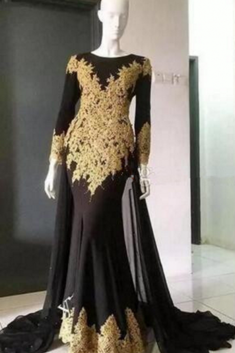 Long Sleeves Mermaid Black Satin Prom Dress Lace Appliques