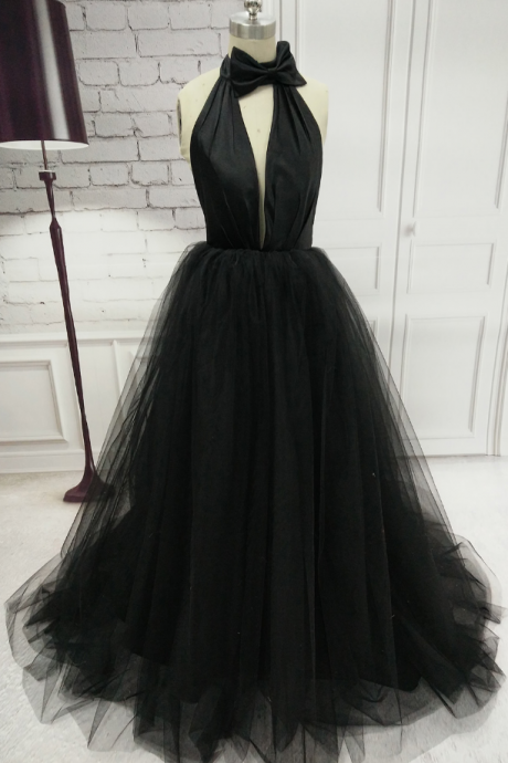 Halter Neck Long Black Tulle Prom Dress Floor Length Women Dress