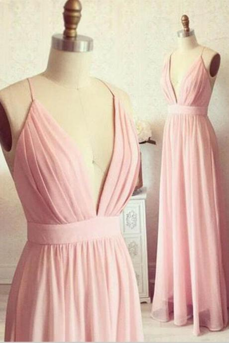 Deep V Neck A-line Chiffon Pink Prom Dress Spaghetti Straps Pleated Women Dress 2019