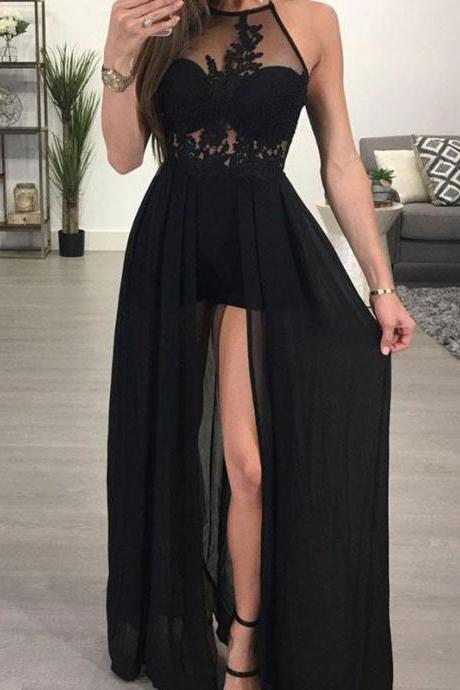 2 Pieces Long Tulle Prom Dress Halter Neck Women Evening Dress 2019