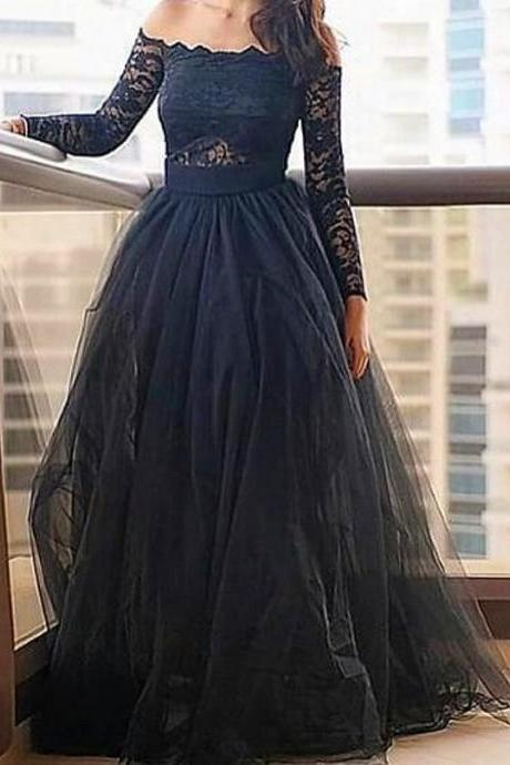 Off the Shoulder A-line Long Black tulle Prom Dress Long Sleeves Women Evening Dress 2019