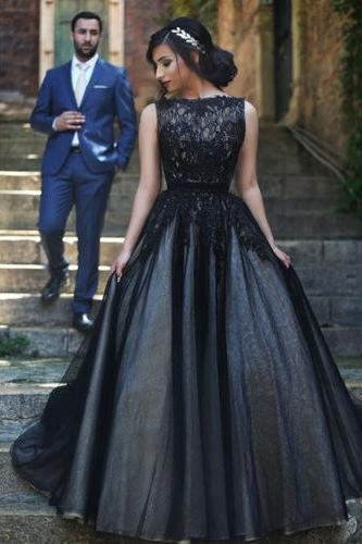 2016 Charming A-line Black Tulle Prom Dresses Lace Appliques Floor Length Party Dresses Custom Made