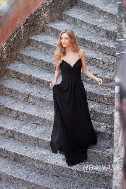 Simple Black Chiffon Prom Dresses Floor Length Spaghetti Straps Evening Dresses Custom Made Women Dresses