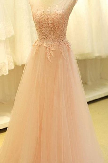 Scoop Neck Long Tulle Prom Dresses Lace Appliques Floor Length Custom Made Party Dresses 2016