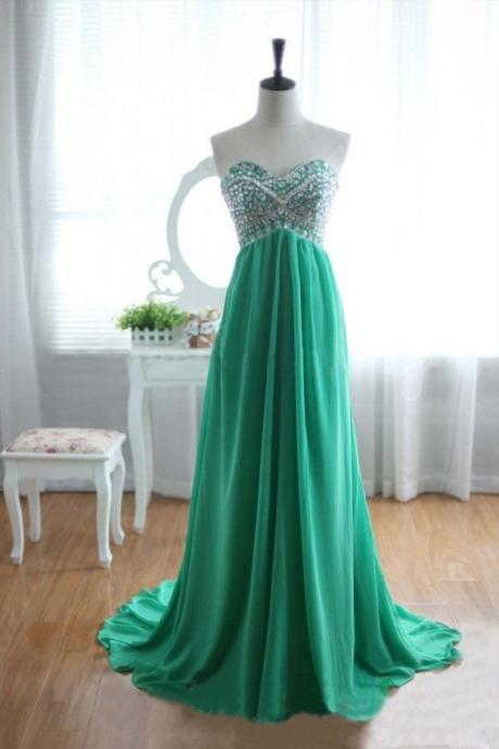 Sweetheart Neck Long Chiffon Prom Dresses Crystals beaded Floor Length Party Dresses Custom Made 2016