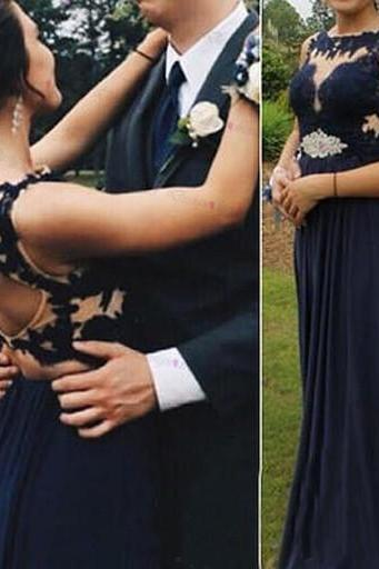 Black Long Chiffon Prom Dresses Lace Appliques Floor Length Party Dresses Custom Made 2016