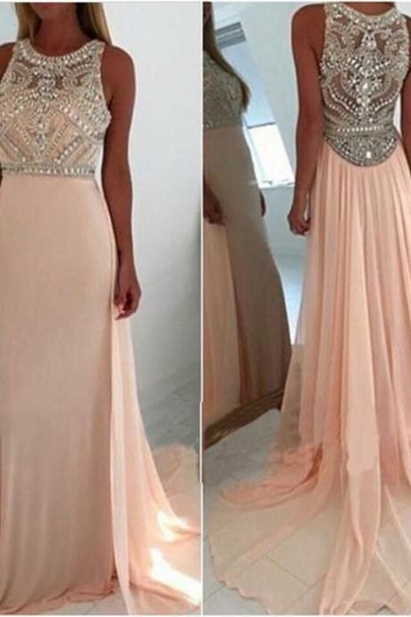 Charming Chiffon Prom Dresses 2016 Crystals Beaded Party Dresses Floor Length Custom Made Women Dresses
