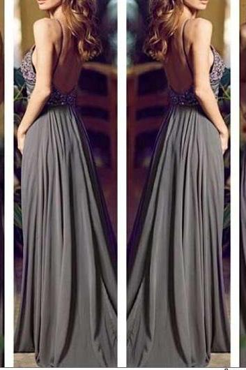 Sexy Backless Chiffon Prom Dresses Crystals Beaded Floor Length Party Dresses Custom Made 2016