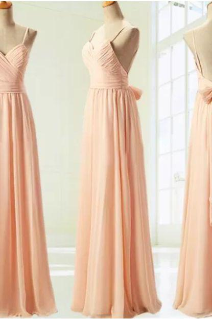 Backless Long Chiffon Prom Dresses Spaghetti Straps Floor Length Party Dresses Custom Made 2016