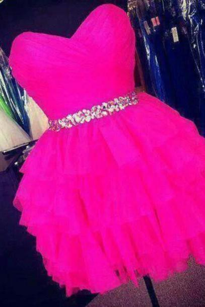 Lovely Short Tulle Homecoming Dresses 2016 Sweetheart Neck Beaded Mini Party Dresses 2016