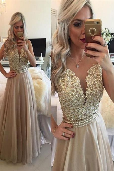 Charming A-line Long Chiffon Prom Dresses Sweetheart Neck Lace Appliques Floor Length Party Dresses 2016