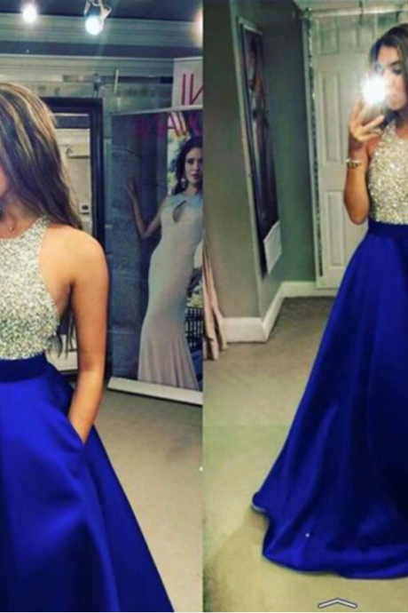 Navy Blue Long Satin Prom Dresses Halter Neck Crystals Women Party Dresses