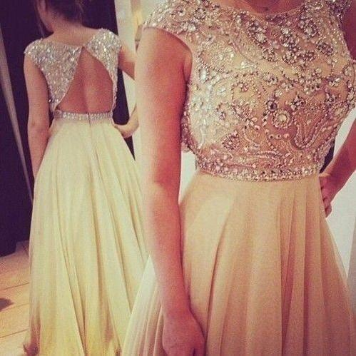 Scoop Neck Long Chiffon Prom Dresses Crystals Floor Length Party Dresses Custom Made 2016 Women Dresses